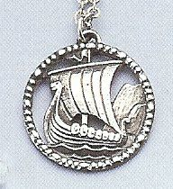 "Viking Ship Pewter Pendant and 32"" Pewter Chain"