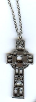 "Pewter Medieval Viking Cross Necklace on a 32"" Pewter Chain"
