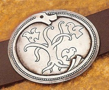 "Runa Beltespenne - Runed Dragon Pewter Belt Buckle with 45"" Black Leather Belt"
