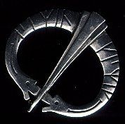 Two Dragon Runic Brooch