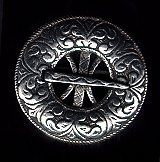 Ornate Round Pewter Viking Brooch