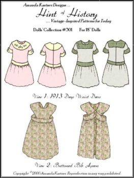 "1913 Drop Waist Dress & Buttoned Bib Apron Pattern for 18"" Dolls"