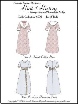 "Shawl Collar Dress & Lace Insertion Dress for 18"" Dolls"