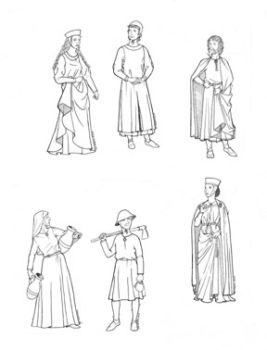 1240 - 1320 People of Medieval Gothic Period Pattern