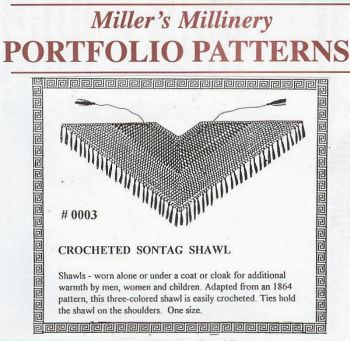 1800s Crocheted Sontag Shawl Pattern  by Miller's Millinery