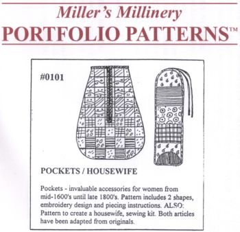 1700s to 1800s Lady's Pocket and Housewife Pattern by Miller's Millinery