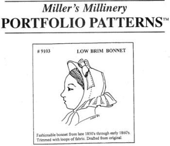 1850's to 1860's Low Brim Bonnet Pattern