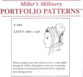 1820s to 1830s Lady's Cap Pattern by Miller's Millinery