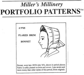 1850s to 1865 Flared Brim Bonnet Pattern