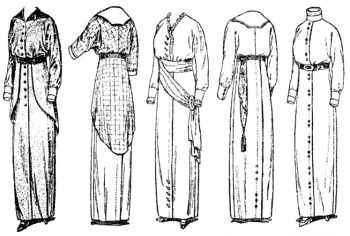 1913-1914 Ladies' Dress, in Clearing Length, with Slightly Raised Waistline Pattern