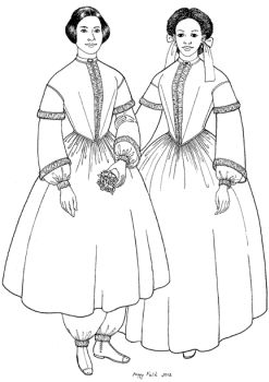 1851-1853 A Bloomer Costume and the Fashionable Dress from Which it was Made Pattern