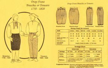 1750-1820 Men's Drop Front Breeches or Trousers Pattern