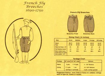 1690 - 1750 Men's French Fly Breeches Pattern by Tailor's Guide