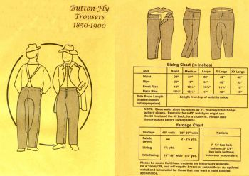 1850-1900  Men's Button Fly Trousers Pattern