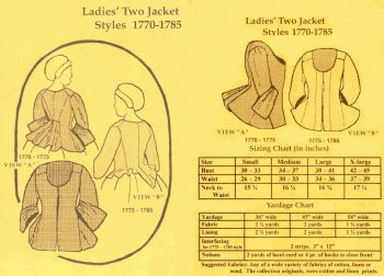 1760- 1785 Ladies� Two Jacket Styles Pattern