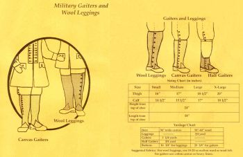 1755-1780 Military Gaiters/Wool Leggings Pattern