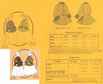1730-1870 Ladies Riding Habit Pattern