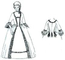 1770's Gentry Gown with Back Pleat Pattern