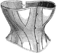 1869 Short Corset of White Coutil Pattern