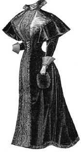 1894 Velveteen Costume with Cape Pattern