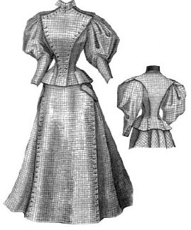 1895 Tailor Costume of Checked Wool Pattern