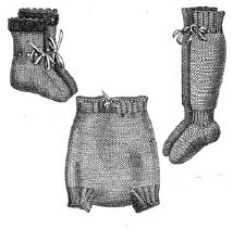 1892 Baby's Knitted Stockings, Drawers & Bootees Pattern