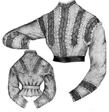 1868 Swiss Muslin Waist with Simulated Braid Trimming Pattern