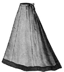 1868 Flannel Skirt with Knitted Border Pattern