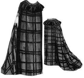 1891 Plaid Wool Skirt with Frill Pattern