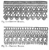1887 Crochet Edgings. 2 Styles. One Size.