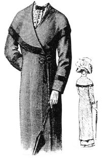 1912 Black Wool Coat with Cape Collar Pattern