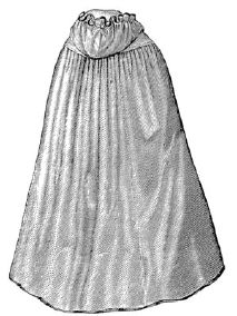 1870 Bathing Cloak with Hood Pattern