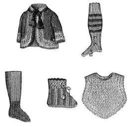 1883 5 Knitted & Crochet Doll's Accessories