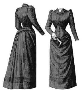 1891 Blue Gray Tailor Gown Pattern