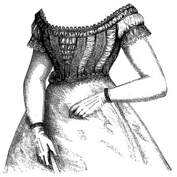 1869 Low-Necked Waist of Tulle & Lace Pattern