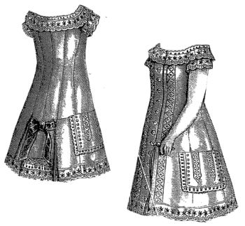 1877 White Dress for Girl 4-6 Years Pattern