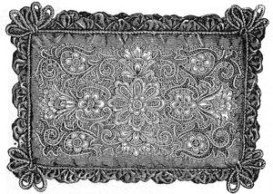 "1894 Cushion with Applied Spanish Embroidery Pattern - 22"" Long x 16"" Wide"