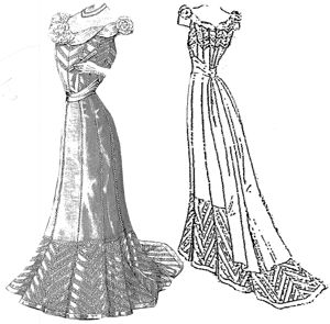 1901 Evening Gown of Tulle & Taffeta Pattern