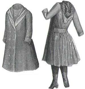 1889 Spring Coat with Hood for Girl 5-7 Years Pattern