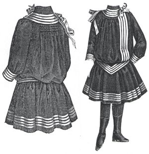 1889 Gray Blue Frock for Girl 5-7 Years.