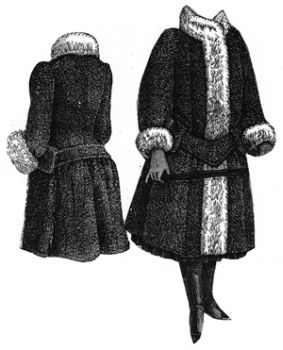1889 Fur-Trimmed Coat for Girl 8-10 Years Pattern