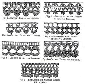 1879 Woven Braid, Mignardise, and Crochet Edgings for Lingerie Instructions/Pattern