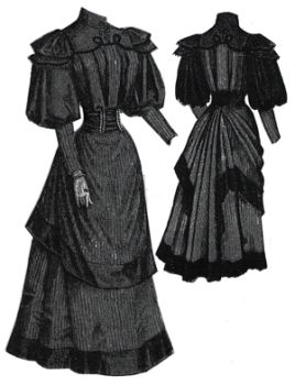 1894 Gown with Draped Over-Skirt Pattern