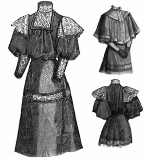 1894 Wool Dress w/Cape for Girl 15-17 yrs