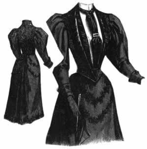 1894 Blue Serge Dress w/Vest & Bolero Jacket