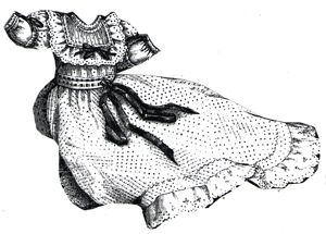 1894 White Dotted Baby's Frock w/Guimpe