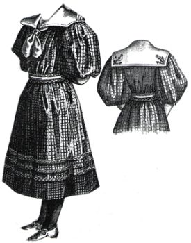1894 Checked Wool Frock for Girl 7-9 Yrs
