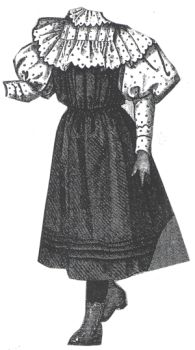 1894 Frock with Piqué Guimpe for Girl 8-10 Years Pattern