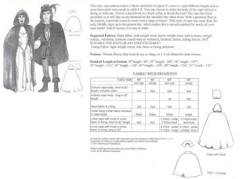 Easy Renaissance Cape with Collar or Hood Pattern