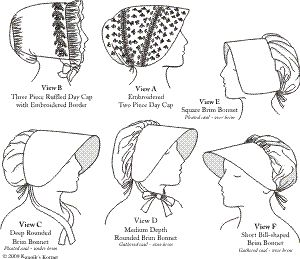 1790-1820 Woman's Caps and Bonnets Pattern